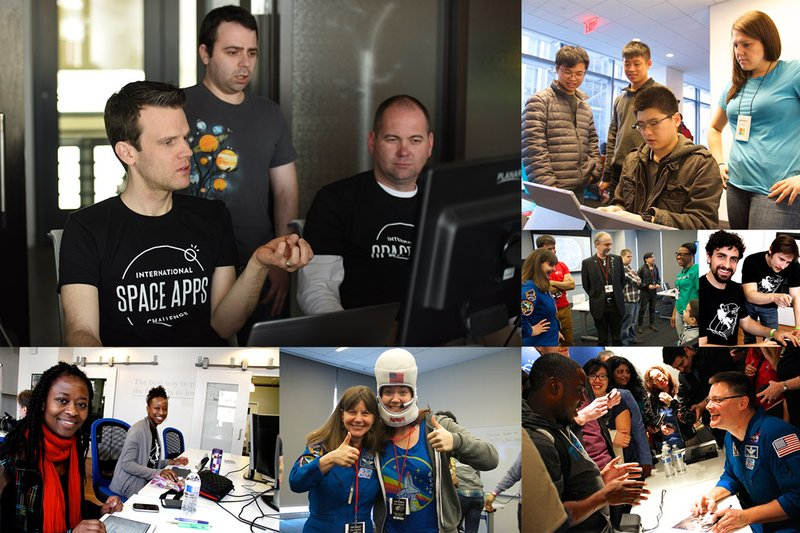 Collage of photographs from Past Space Apps Challenge Events featuring participants, hosts and astronauts.